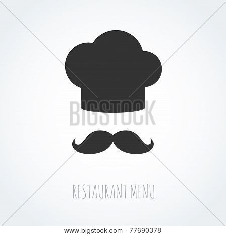 Chef hat and mustache abstract vector icon.