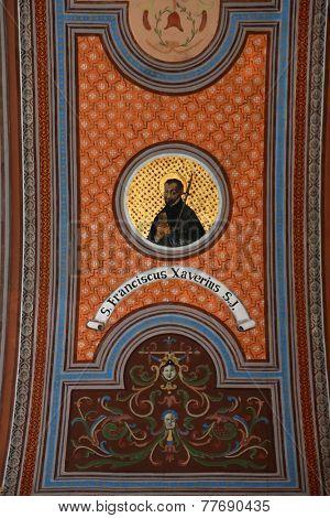 TRAVNIK, BOSNIA AND HERZEGOVINA - JUNE 11: Saint Francis Xavier, fresco on the ceiling of the church of St. Aloysius in Travnik, Bosnia and Herzegovina on June 11, 2014.