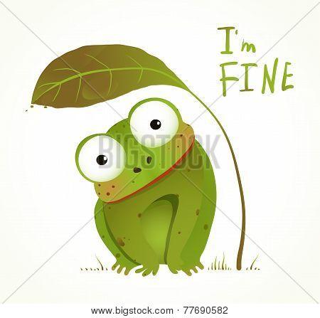 Green Baby Frog Childish Animal Fun Cartoon