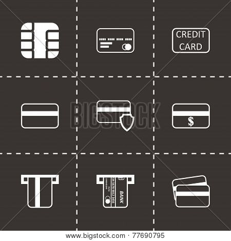 Vector black credit card icon set