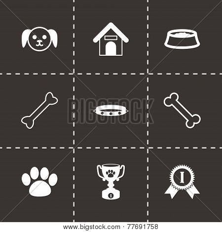 Vector black dog icon set