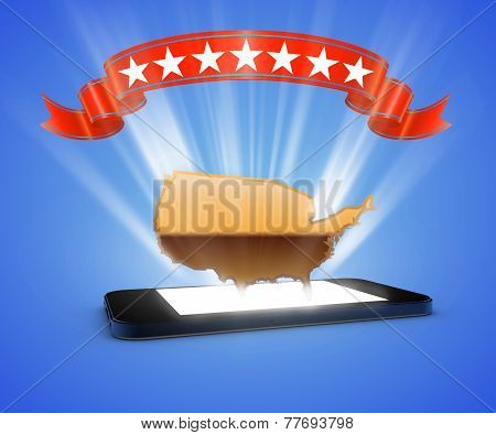 Map Usa In Smartphone