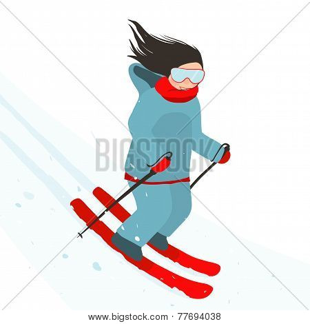 Young Sporty Girl Skiing Downhill in Mountains