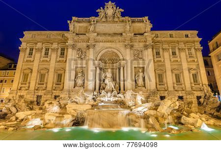 Neptune statue of the Trevi Fountain in Rome Italy