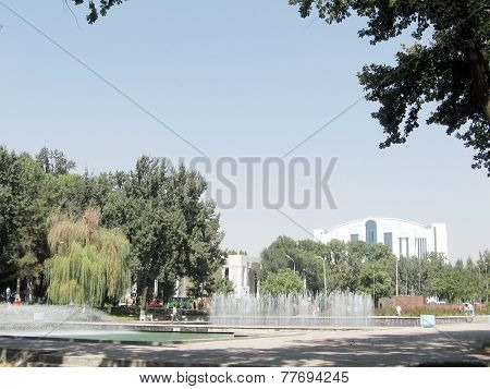 Tashkent View Of Fountains On Independence Square 2007