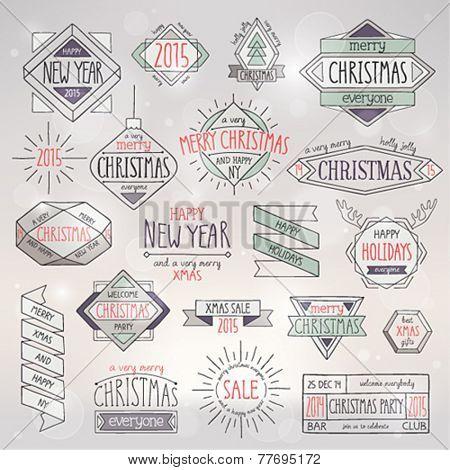 Christmas hand drawn card set. Vector illustration.