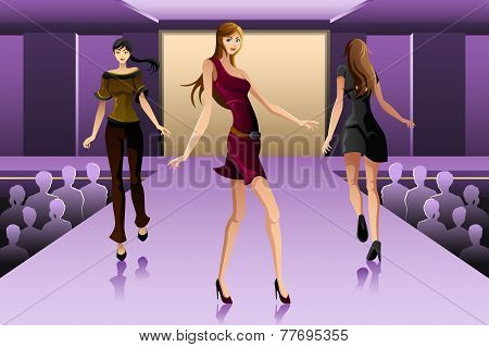 Supermodels Walking On A Runway Show