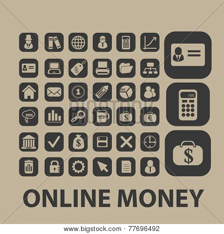 online money, payment, atm, bank icons, signs set, vector