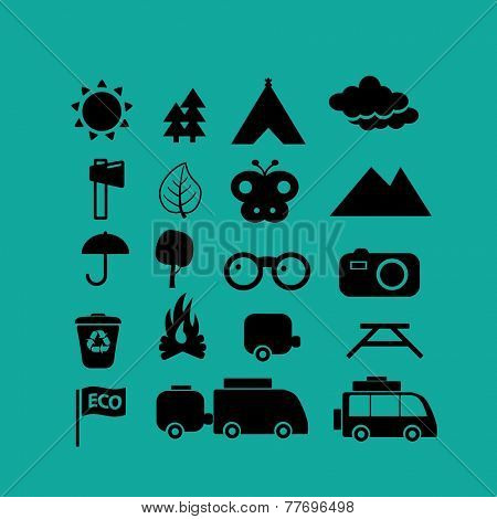 camping, travel, tourism icons, signs set, vector