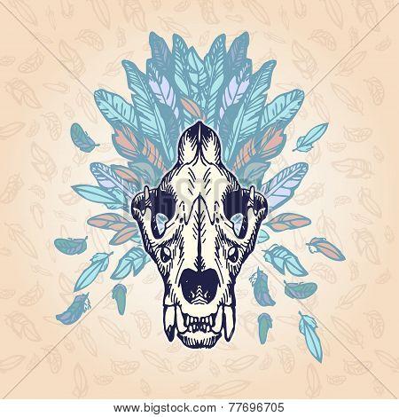 Lion Skull Vintage Aged Plumage