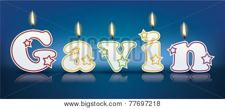 GAVIN written with burning candles - vector illustration