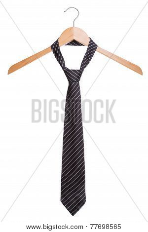 Male Fashion Tie. On A Hanger White Background.