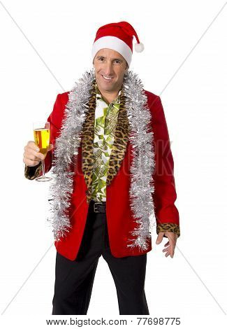Happy Drunk Rake Senior Businessman In Champagne Christmas Toast Party At Work Wearing Santa Hat