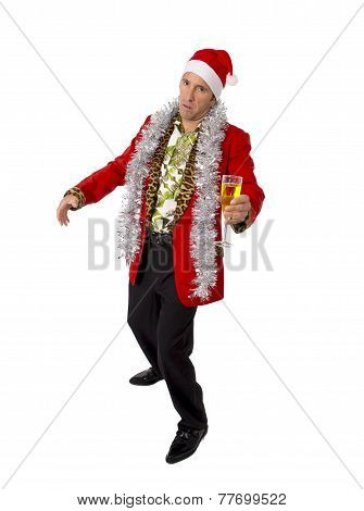 Wasted Drunk Rake Senior Businessman In Champagne Christmas Toast Party At Work Wearing Santa Hat