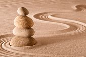 Постер, плакат: zen meditation garden stack of stones relaxation and meditation through simplicity harmony and rock