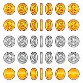 stock photo of coins  - Vector dollar coins rotation animation sprites set - JPG