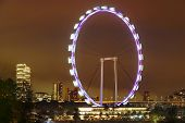 image of singapore night  - Singapore Flyer observation wheel above the night city - JPG