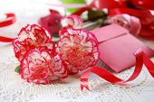 stock photo of carnation  - carnation flowers with card for mothers day - JPG