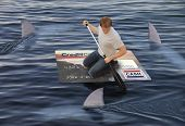 stock photo of loan-shark  - Man stranded on a raft made of a huge credit card in the ocean while being circled by sharks - JPG