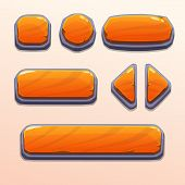 stock photo of oblong  - Set of cartoon orange stone buttons - JPG