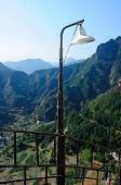 pic of lamp post  - A lamp post on a railing on Fangdong Scenic Area on Yandangshan Mountains in Zhejiang province China - JPG
