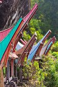 stock photo of coffin  - Traditional burial site in Tana Toraja South Sulawesi Indonesia where coffins are placed in caves carved into the rock or in tongkonan decorated wooden buildings with outstanding boat shaped roof - JPG