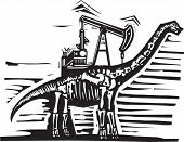 picture of apatosaurus  - Woodcut style image of a fossil of a brontosaurus apatosaurus dinosaur with an oil well Pump Jack on its back - JPG