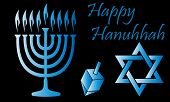 image of hanukkah  - Blue Hanukkah Symbols Over A Black Background - JPG