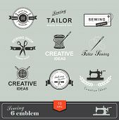 stock photo of tailoring  - Set of tailor labels - JPG