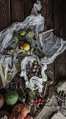 pic of thread-making  - Still life of ingredients for making potions witch - JPG