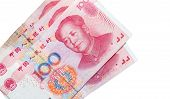 picture of yuan  - Chinese 100 yuan renminbi banknotes isolated on white - JPG