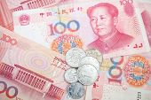 picture of yuan  - Modern Chinese yuan renminbi banknotes and coins close up photo background - JPG