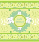 picture of pranayama  - yoga lifestyle on abstract background card  - JPG