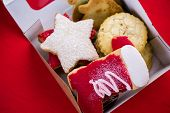 stock photo of christmas cookie  - Variety of Christmas cookies as a food gift for Christmas - JPG