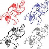 stock photo of judo  - Vector collection of judo for cutting art illustration cute - JPG