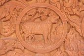 image of chinese zodiac animals  - Wood carving of tiger Chinese zodiac animal sign - JPG
