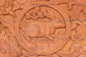 picture of chinese zodiac animals  - Wood carving of rabbit Chinese zodiac animal sign - JPG