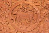 pic of chinese zodiac animals  - Wood carving of monkey Chinese zodiac animal sign - JPG