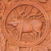 image of chinese zodiac animals  - Wood carving of pig Chinese zodiac animal sign - JPG
