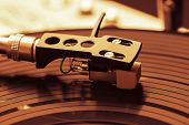 pic of view from space needle  - Old good looking turntable playing a track from black vinyl - JPG