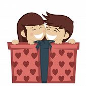 pic of huddle  - A brunette girl and boy huddling and smiling with a big gift box - JPG