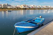 pic of cabana  - Traditional Portuguese boat at the dock. View Cabanas de Tavira.