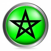 foto of pentacle  - Green pentagram button isolated  on white background - JPG