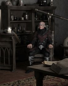 picture of sorcerer  - Fantasy illustration of a sorcerer sitting in his study and thinking - JPG