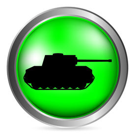stock photo of panzer  - Panzer green button isolated on white background - JPG