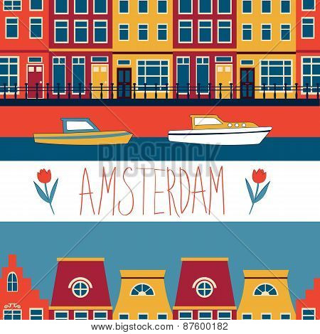 Colorful Amsterdam seamless pattern