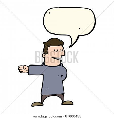 cartoon man gesturing direction with speech bubble