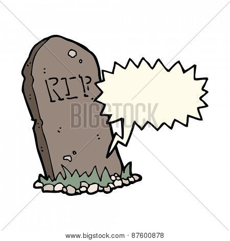 cartoon spooky grave with speech bubble