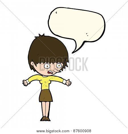 cartoon woman panicking with speech bubble