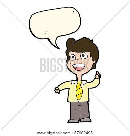 cartoon school boy raising hand with speech bubble